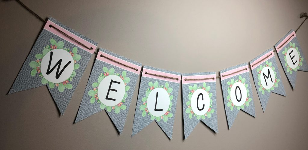 This Cactus Classroom Welcome Banner is gray burlap with green, blue and pink touches. All letters are included! Make it say whatever you wish! #cactusclassroomdecor #cactusclassroomtheme #cactusclassroomdecorations