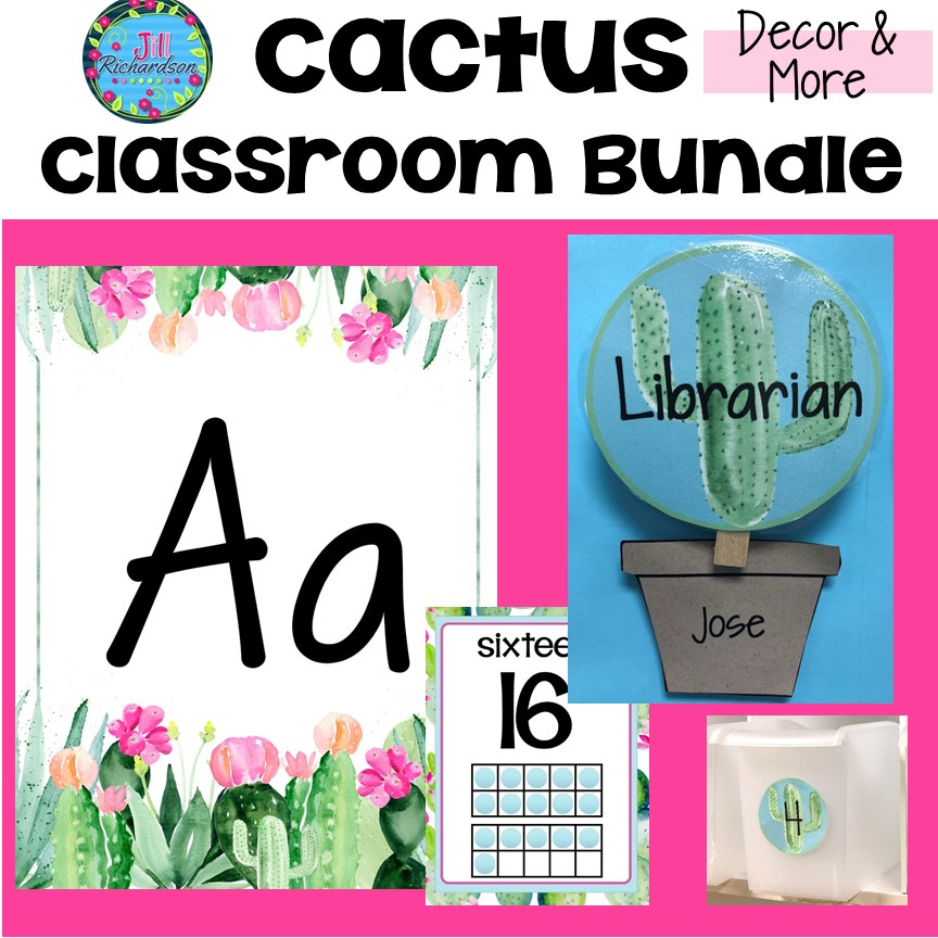This Cactus Classroom Theme will create a calming feel to your classroom! Click to see previews of the 13 resources included in the bundle. It also includes cactus certificates and awards. #cactusclassroomdecor #cactusclassroomtheme #cactusbulletinboard #cactusclassroomdoor