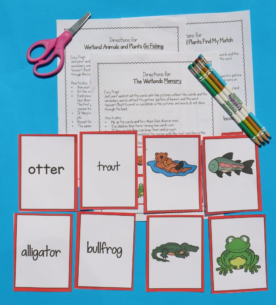 An example of the ELL strategy Find My Match using Wetland Animals.