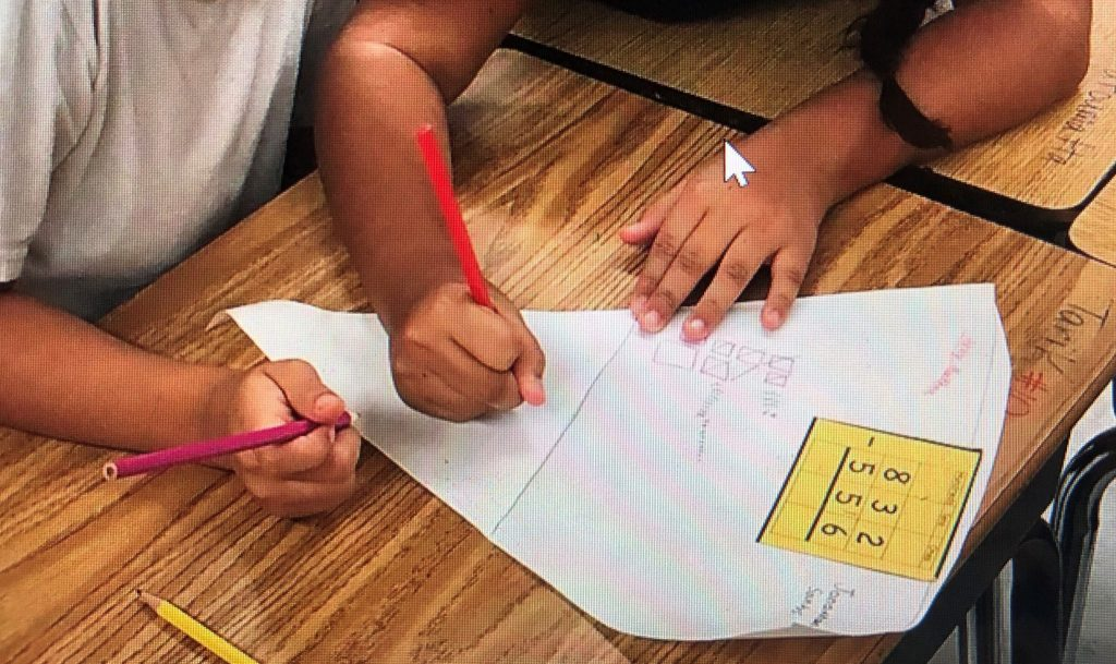 Two students working on the slice of pizza activity. Working at their level from the WIDA Can Do DEscriptor chart.