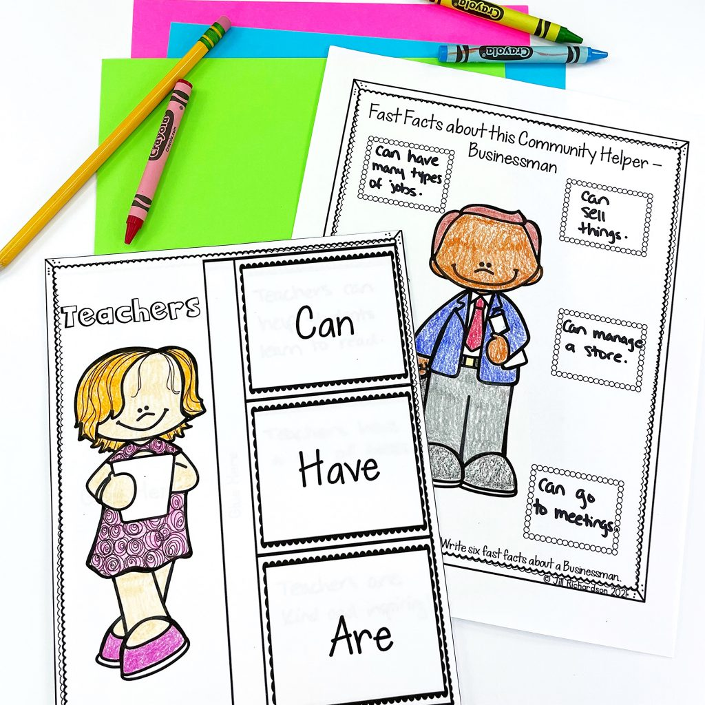 colored and completed community helpers flap books
